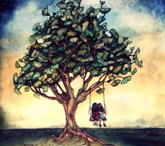 dziewczynki na drzewie