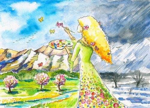 Kobieta malująca motyle