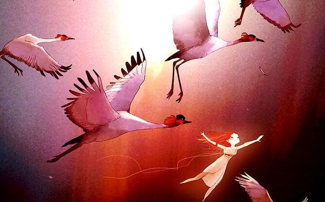 dziewczyna i ptaki