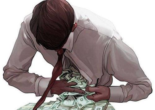 Mężczyzna zagarnia pieniądze pod koszulę