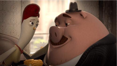 Zakochana animowana świnia i kurczak