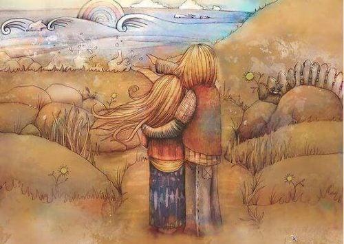 Chłopiec i dziewczynka patrzą na wodę