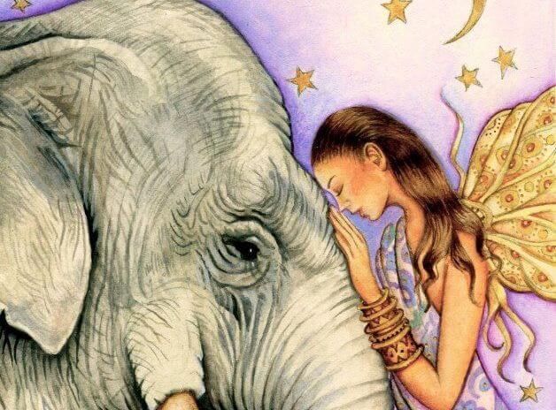 kobieta i słoń