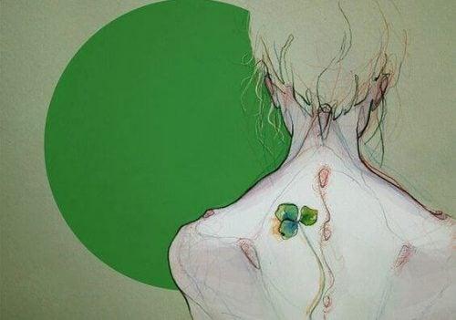 Plecy dziewczyny i zielony okrąg - rozstanie