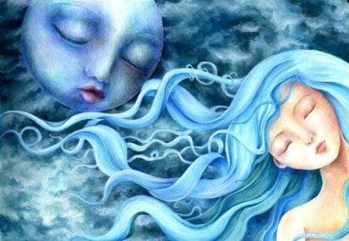 Dziewczyna o niebieskich włosach