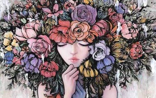 Dziewczyna z kwiatami na głowie podejmująca decyzje