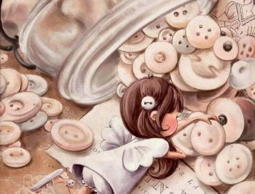 Montessori dziewczynka poznaje świat, bawiąc się wielkimi guzikami