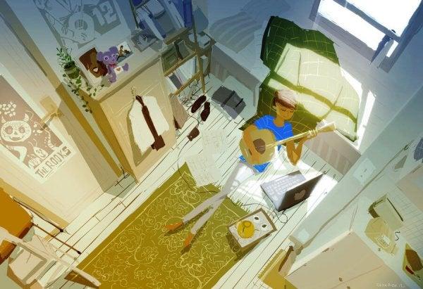 Dziewczyna siedzi na podłodze i gra na gitarze.