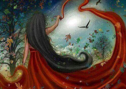 dziewczyna w czerwonej sukni