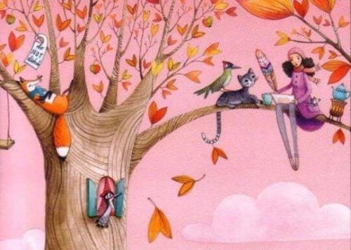 Kobieta i zwierzęta na drzewie