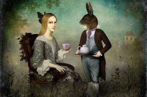 Kobieta i królik w garniturze
