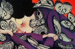 Motyle na leżącej kobiecie - negatywność