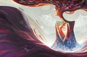 Kobieta ze skrzydłami - pozytywne nastawienie