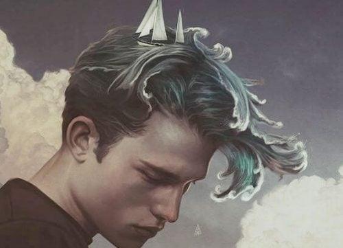 Mężczyzna z oceanem zamiast włosów