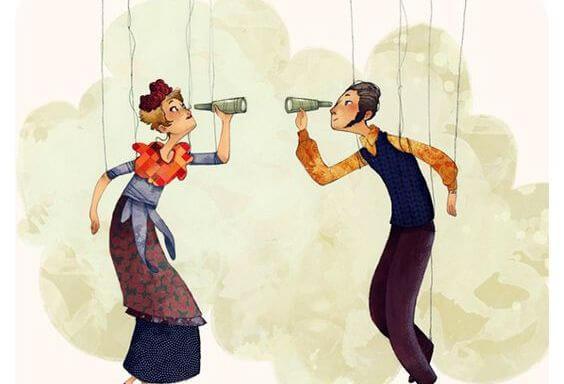 Dwie marionetki patrzą przez teleskopy.