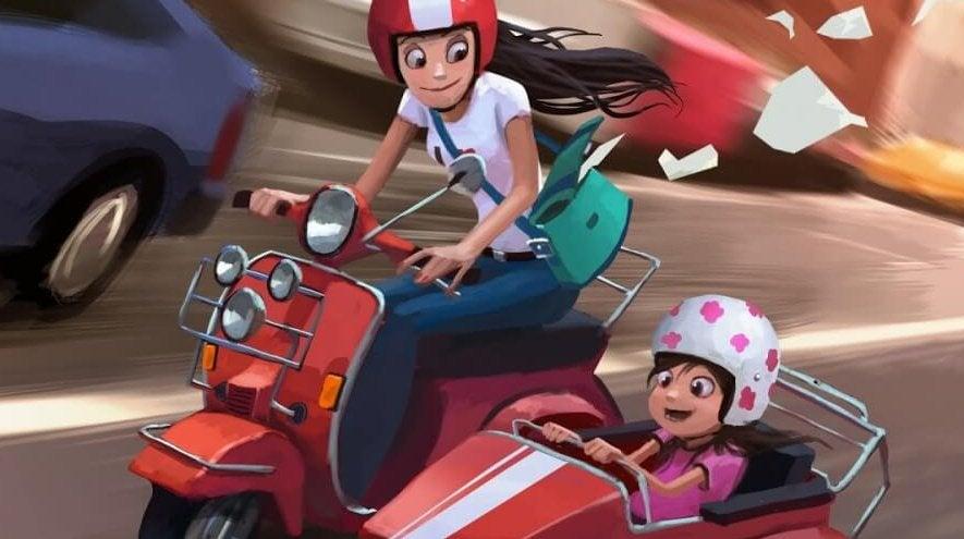 matka i dziecko na motorze