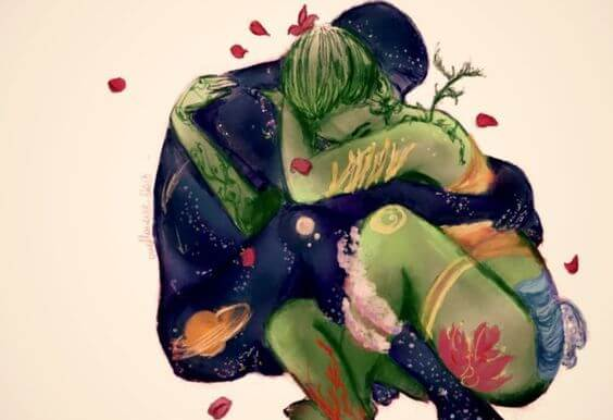 Mężczyzna wszechświat obejmuje kobietę ziemię.