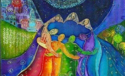 Okrąg kolorowych ludzi