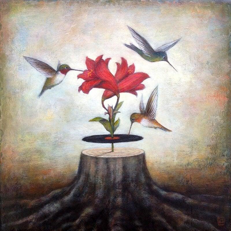 pień drzewa kwiat