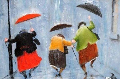 Tańczące w deszczu staruszki