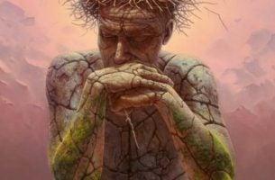 Zamyślony kamienny człowiek - miłość do siebie