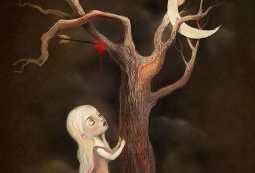 Zranione drzewo - ulotność