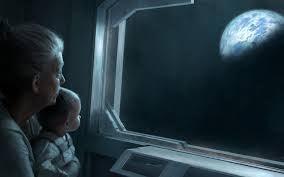 Babcia z wnuczką patrzą na księżyc