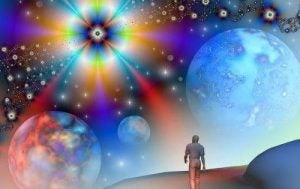 Człowiek spaceruje przez wszechświat