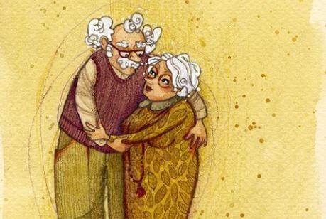 Dziadkowie, którzy się przytulają