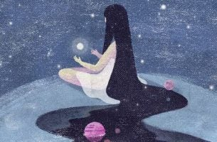 Dziewczyna trzyma w dłoniach światło, by świecić.