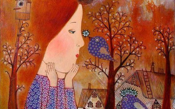 Dziewczyna z niebieskim ptaszkiem.