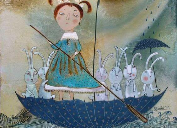 Dziewczyna na łódce z króliczkami.