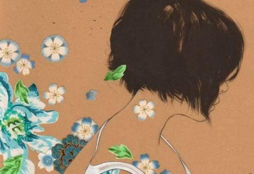 Głowa kobiety i kwiaty