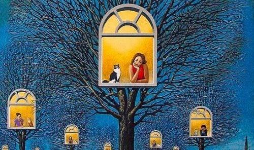 Ludzie i zwierzęta w oknach