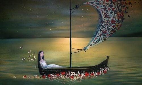 Kobieta na łodzi