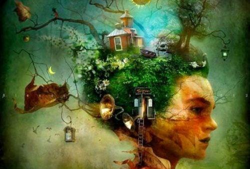 Kobieta z domem na głowie