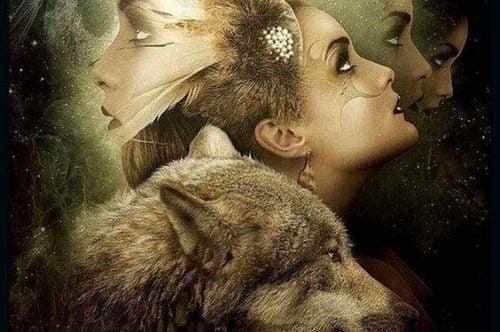 kobieta z wilkiem