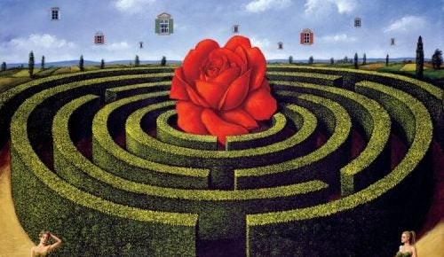Róża w centrum labiryntu