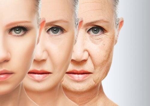 Proces starzenia się na twarzy kobiety