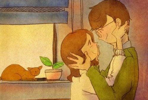 Para w pokoju się przytula