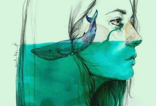 Abstrakcja - ryba pływa w głowie