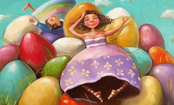 Dzieci na kolorowych jajkach.