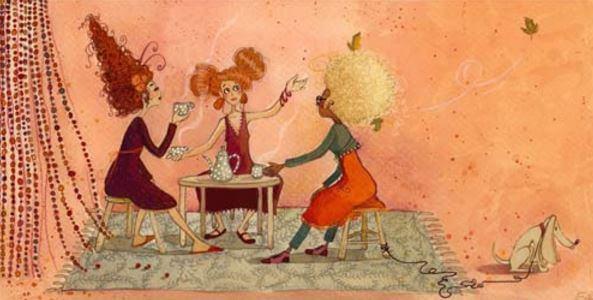 Trzy kobiety pija kawę.