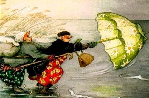 babcie używają parasola jako latawca