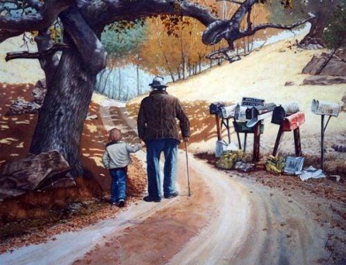 dziadek spaceruje z wnuczkiem