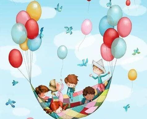 Dzieci na kocu unoszonym przez balony