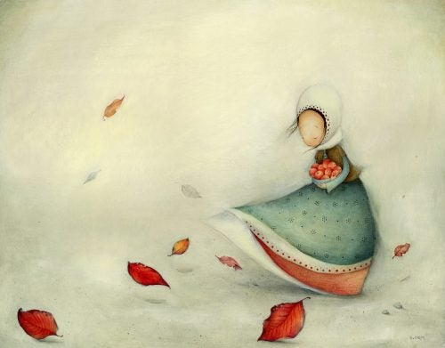 dziewczyna niesie jabłka