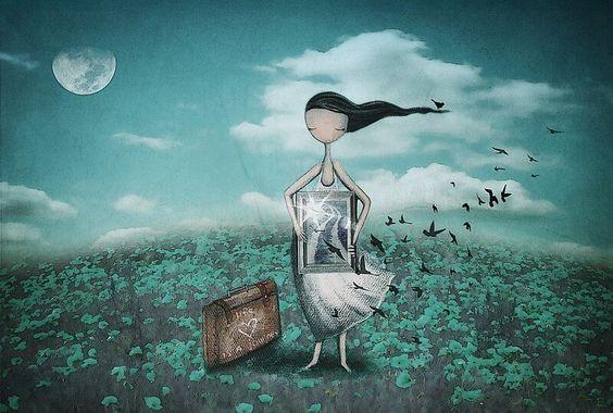 Dziewczyna z ptaszkami trzyma w dłoniach obraz.