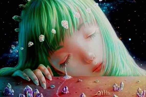 Dziewczynka z zielonymi włosami.
