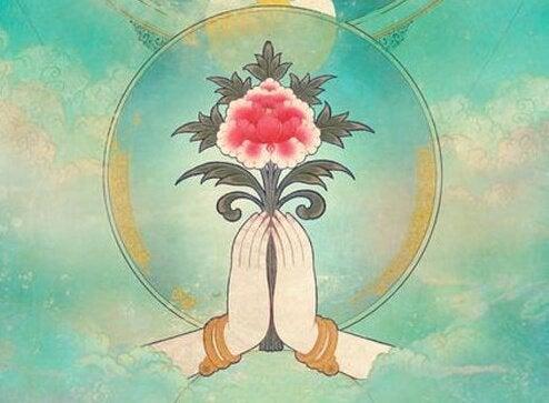 Hinduizm - kwiat trzymany w dłoniach